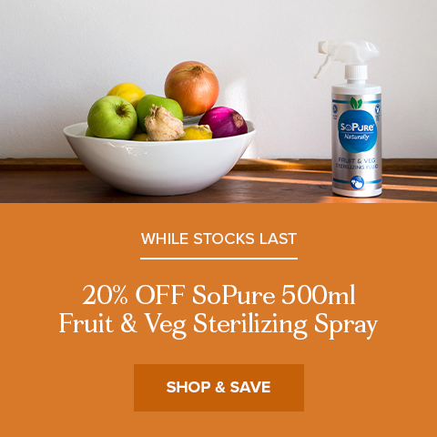 20% Off SoPure Fruit & Veg Sterilizing Spray 500ml