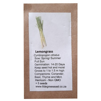 6 Degrees East Heirloom Herb Seeds - Lemongrass