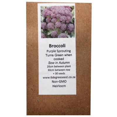 6 Degrees East Heirloom Veg Seeds - Broccoli - Purple Sprouting