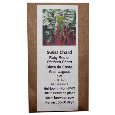 6 Degrees East Heirloom Veg Seeds - Swiss Chard - Ruby Red