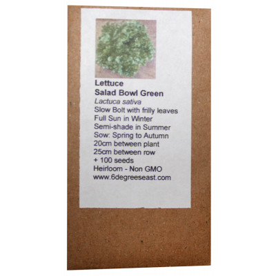 6 Degrees East Heirloom Veg Seeds - Lettuce - Salad Bowl Green
