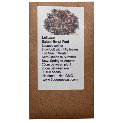 6 Degrees East Heirloom Veg Seeds - Lettuce - Salad Bowl Red