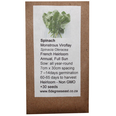6 Degrees East Heirloom Veg Seeds - Spinach - Monstrous Viroflay