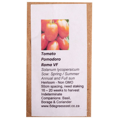 6 Degrees East Heirloom Veg Seeds - Tomato - Roma