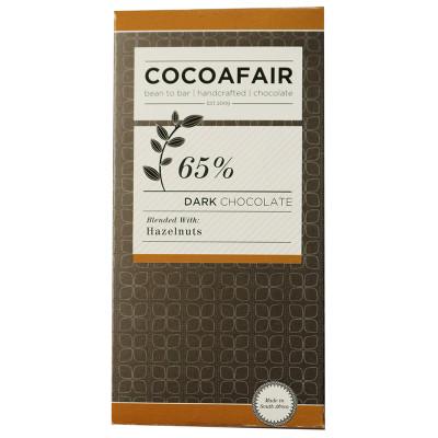 CocoaFair 65% Dark Chocolate with Hazelnuts, 100g