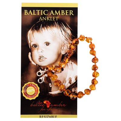 Baltic Amber for Africa Baby Anklet - Cognac