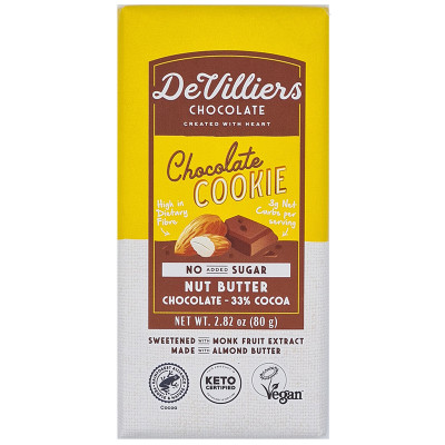 De Villiers No-Added-Sugar Chocolate Cookie Nut Butter Chocolate