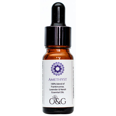 O & G Crown Chakra 100% Essential Oil Blend with Amethyst Gemstones