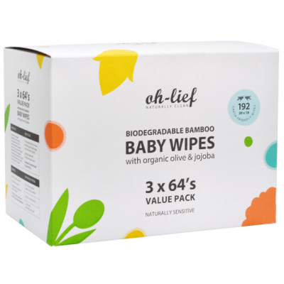 Oh-Lief Biodegradable Bamboo Baby Wipes Value Pack