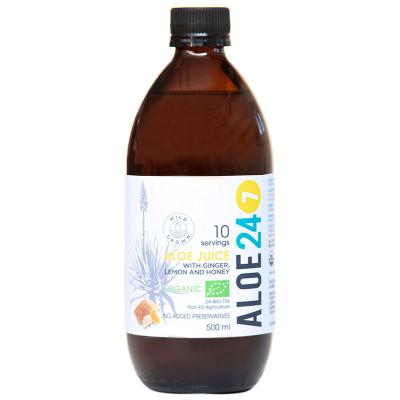 Organic Aloe 24/7 Juice- Lemon, Ginger and Honey
