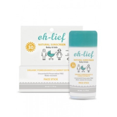 Oh-Lief Natural Sunscreen SPF30 Kids Face Stick