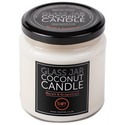 Soylites Coconut Candle - Clear Jar - Neroli, Grapefruit