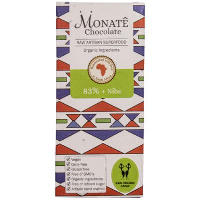 Monate Chocolate 83% Raw Cacao & Nibs Bar , 54g