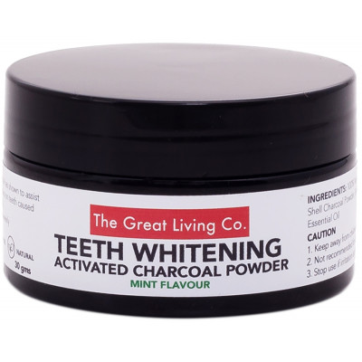 The Great Living Co Activated Charcoal Teeth Whitening Powder - Mint Flavoured