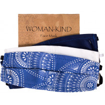 Woman-Kind Curved Fabric Face Mask - Blue Assorted - 3 Pack