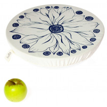 Halo Single Dish Cover Edible Flowers - Denim Blue