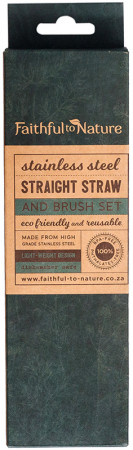 Faithful to Nature Stainless Steel Straight Straw & Brush Set