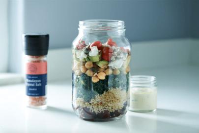 Kale and Chickpea Salad Jars